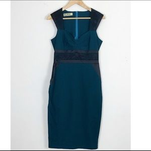VESPER | Green V Neck Pencil Dress w/ Black Lace